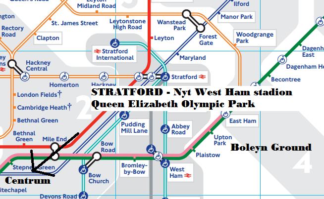Nyt west ham stadion tube map